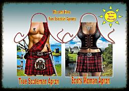 Scots Man and Scots Woman fun Aprons